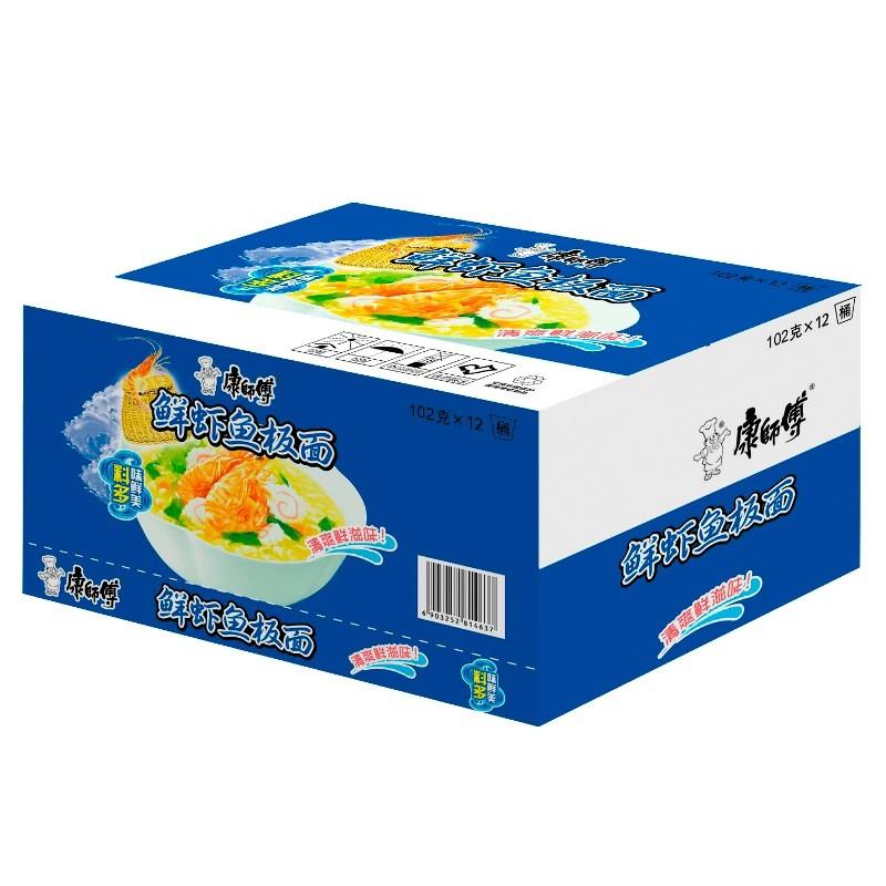 康师傅鲜虾鱼板桶装方便面(102g*12桶)