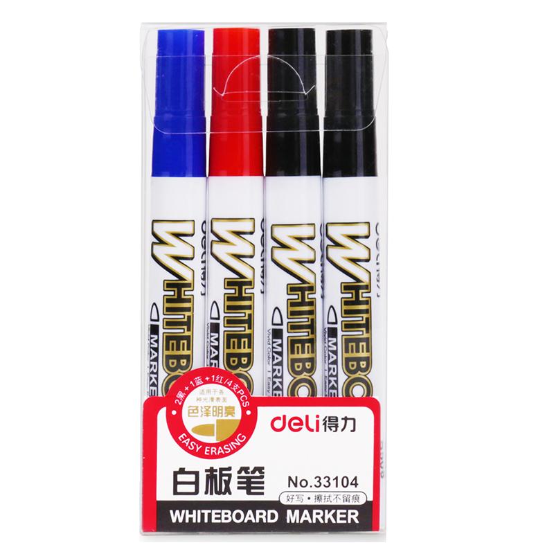 得力 33104 单头易擦白板笔2.0mm 4支/盒(2黑+1红+1蓝)