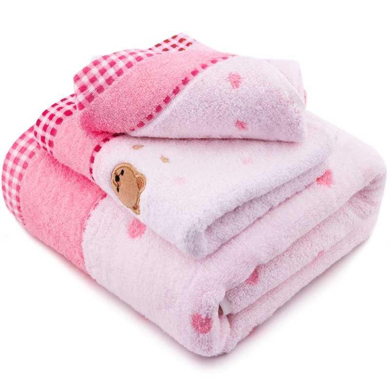 三利 纯棉无捻纱绣小熊方巾/毛巾/浴巾礼盒装三件套 粉色