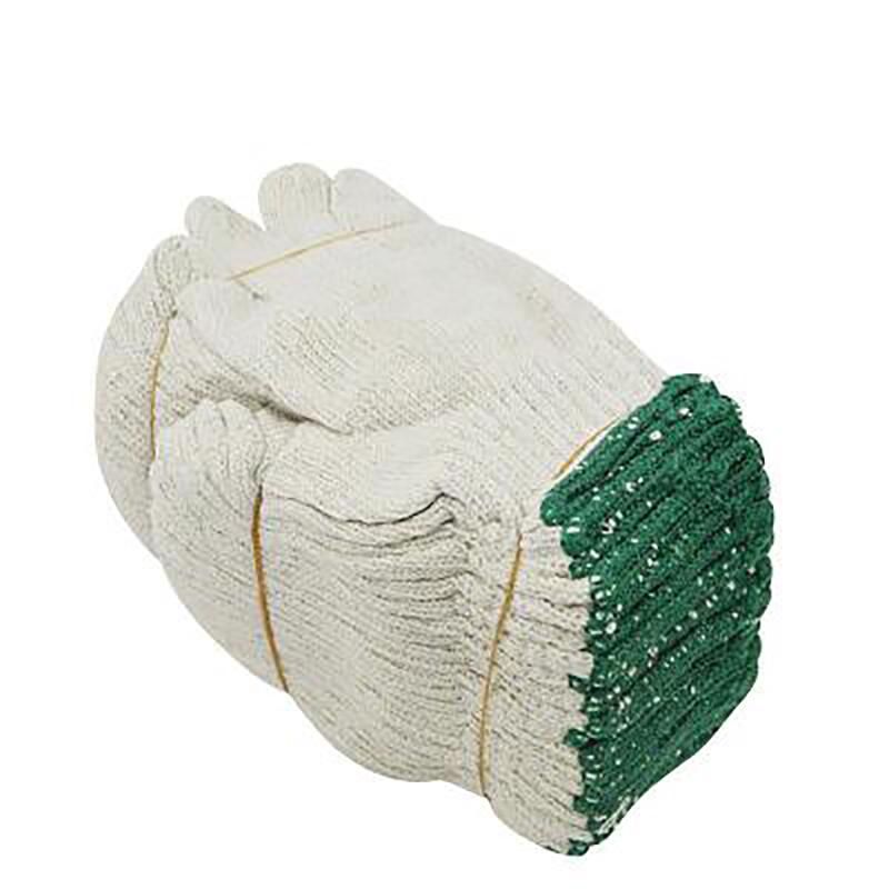 华特 1.7#纱手套 绿边 600G 1号线白纱手套 白色