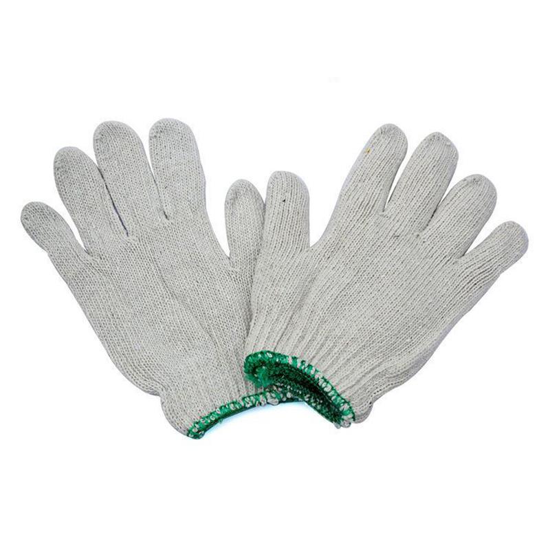 华特 2.6#纱手套 绿边 600G 2号棉纱手套 白色