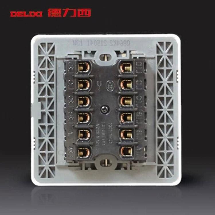 德力西 q864k1 86型开关 暗装 四开单控带荧光开关面板(单位:个)