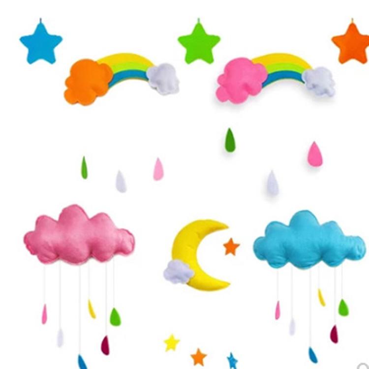小鱼y003 宝宝儿童房幼儿园月亮云朵星星空中吊饰 多色(单位:套)