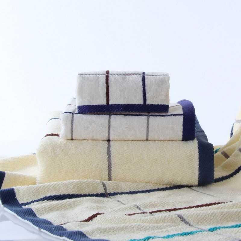 金号 9106 纯棉方格毛巾方巾浴巾3件套