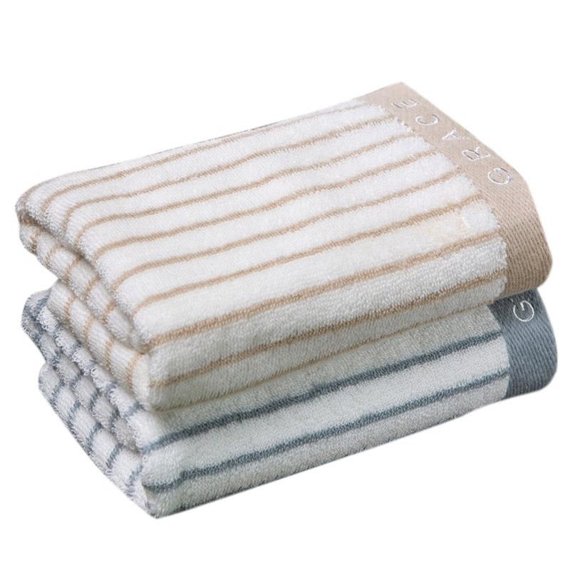洁丽雅 毛巾家纺 经典条纹系列纯棉强吸水毛巾二条装兰1棕1