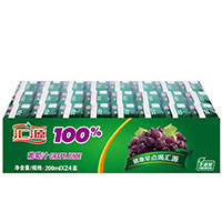 汇源 100%软包装葡萄汁200ml 24盒1箱
