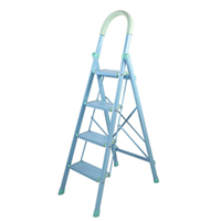 奥鹏 AP-92114W 家用四步铝合金梯子 浅蓝色