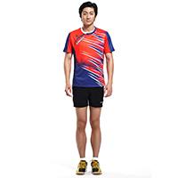 川崎 15127 圆领羽毛球 男士运动套装XL码大红色